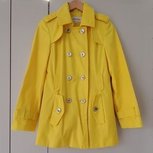 Brand New No Tags Calvin Klein Yellow Trench Coat